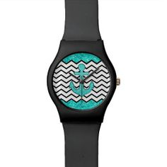 Teal glitter anchor and chevron wrist watches #glitter #anchor #chevron