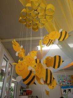 Οι μέλισσες και η κυψέλη τους! (Κυψέλη από ρολό χαρτί υγείας και τέμπερα/ μέλισσες από χαρτόνι και φτερά από τσιγαρόχαρτο)