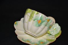 RARE Paragon Flower Handle Scalloped Teacup and Saucer Set, c. April 1933-December 1934
