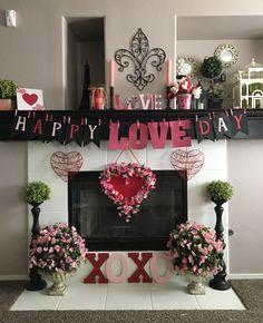 Valentines themed fireplace Diy Valentine's Day Decorations, Valentine Day Wreaths, Valentines Day Decorations, Valentine Crafts, Valentine Ideas, My Funny Valentine, Happy Valentines Day, Valentine's Day Diy, Decals