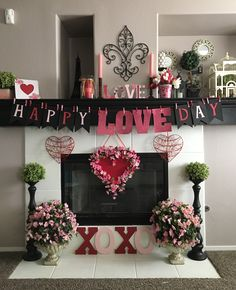 Valentines themed fireplace