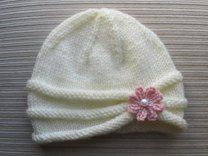 Rolled Brim Hat with a Flower for a Baby (6-9 Months) and Toddler ( 2-4 Years)