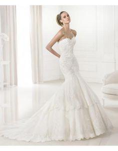 robe de mariée sirène traîne courte élégant col en coeur