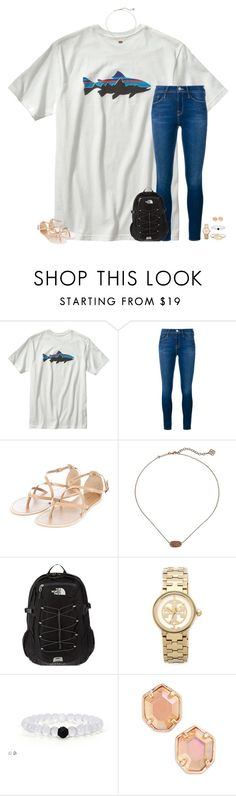 """watching the sisterhood of the traveling pants"" by secfashion13 ❤ liked on Polyvore featuring moda, Patagonia, Frame Denim, Kendra Scott, The North Face, Tory Burch, women's clothing, women, female y woman"