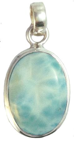 Larimar Small Healing Stone Sterling Silver Oval Pendant -- Awesome products selected by Anna Churchill