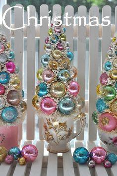 Christmas in July Bottle Brush Tree Chic Pink & Aqua HoLiDaY DreaM vintage glass garland Glass Ornaments teacup bottlebrush. $48.50, via Etsy.