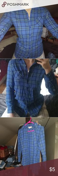 Blue Plaid / Flannel Super cute, I had way too much plaid so I'm getting rid of a ton that I don't wear as much as my other half, so if you like plaid or flannel or looking like a lumberjack be ready, I usually have all different types like old/new/cheap/nice/bright/plain, so...prepare yourself! OP Tops Button Down Shirts