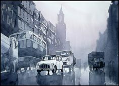 Wet Streets by Rafal Rudko    Really diggin' this guy's watercolor style. Very minimal, but still very detailed.