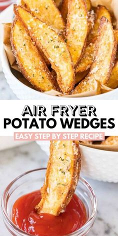 Air Fryer Potato Wedges are so crispy and perfectly seasoned! Tossed with Parmesan these easy homemade Air Fried Wedges make a tasty appetizer or side dish. Potato Wedges made in the Air Fryer are cri Air Frier Recipes, Air Fryer Oven Recipes, Air Fryer Dinner Recipes, Air Fryer Recipes Potatoes, Air Fryer Baked Potato, Air Fryer Rotisserie Recipes, Air Fryer Potato Chips, Air Fryer Recipes Appetizers, Air Fryer Recipes Snacks