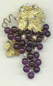 Grape Jewelry - Amethyst and Diamond Grape Pin with gold leaf and vines