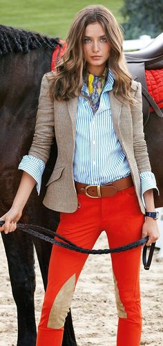 RL color and style ♥✤ | Keep the Glamour | Striped blouse. Orange Equestrian Riding pants. Riding boots. Hazel Nut Oyster Blazer.