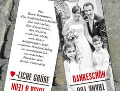 Dankeskarte Hochzeit als Lesezeichen!