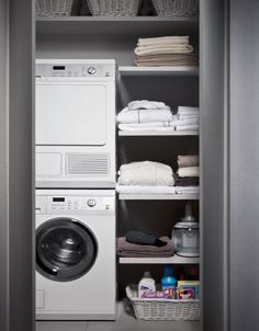 Do you want make small laundry room look like functional for home and apartement? Laundry rooms are often overlooked because you work too much at home and apartement. Here our team gave 30 Laundry Room Design Ideas. Laundry Closet, Small Laundry Rooms, Laundry Storage, Laundry Room Design, Laundry In Bathroom, Small Bathroom, Bathroom Interior, Interior Design Living Room, Living Room Designs