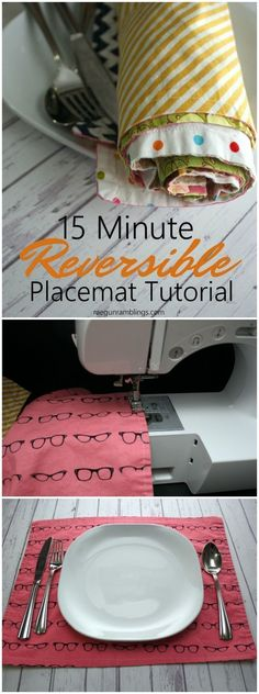 Great DIY 15 minute reversible placemats sewing tutorial perfect for beginners or anyone wanting a fast project. Free pattern that perfect for holiday home decor. #DIYHomeDecorSewing