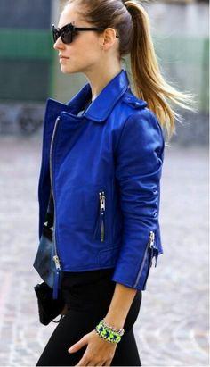 Blue leather jacket street fashion