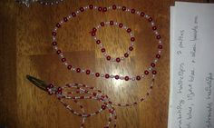 red and white beaded necklace set with bracelet and set of hair clips. 10 dollars a set. can make any length and any color