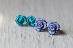 Flower Earring Set : Teal and Purple Floral Studs, Set of Two, Matte, Fake Plugs, Artisan Tree, Bohemian on Etsy, $10.00