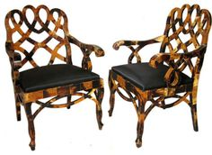 Pair Tessellated Horn Chairs contemporary chairs