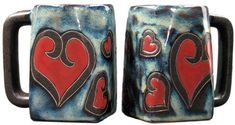 Set Of Two 2 MARA STONEWARE COLLECTION  12 Oz Coffee Cup Collectible Square Dinner Mugs  Hearts Valentine Design -- Click image to review more details.
