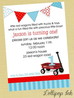 Little Red WAGON Printable Invitation, Red WAGON Personalized Birthday Invite, Birthday Boy, Baby Shower