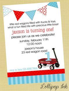 Little Red WAGON Printable Invitation, Red WAGON Personalized Birthday Invite, Birthday Boy, Baby Shower