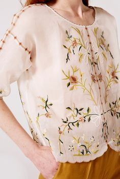 Our dreamy organza embroidered blouse is that stunning wardrobe piece you will always be proud of. Embroidered Blouse, Floral Tops, Clothes For Women, Stuff To Buy, Shopping, Fashion, Woman Clothing, Outfits For Women, Moda