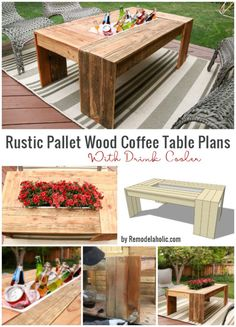 Rustic Pallet Wood Coffee Table with Drink Cooler  This is perfect for your outside desk. An ideal way to welcome guests for endless BBQs and parties!