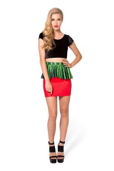 Watermelon Peplum Skirt by Black Milk Clothing $60AUD