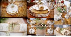 Photo by: www.sagephoto.com Gorgeous Wood theme table scape! LOVE
