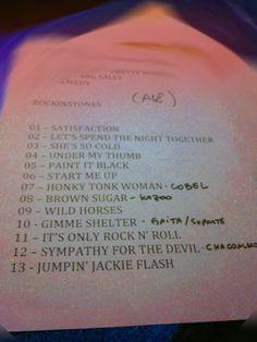 Set List Rockinstones que rolou no último show - 13 número cabalístico... e estéticamente estratégicamente estranho! rs - Fotolog