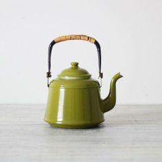 Olive green enamel teapot. $39 USD