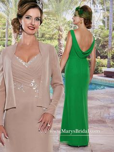 Charm the room in this Marys Bridal M2487 chiffon Mother-Of-The-Bride dress. It is designed with a ruched surplice bodice with a v-neck, cowl back and stunning, bead embroidery. A floor-length skirt wraps things up beautifully. It includes a matching jacket.