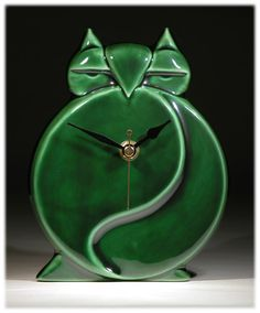 Echo of Deco British Art Pottery Racing Green Owl Wall Clock