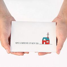 Anniversary Card. I Love You Card. Home Is Wherever Im With You. Red, Turquoise, Aqua, White. Blank Greeting Card.. $4.00, via Etsy.
