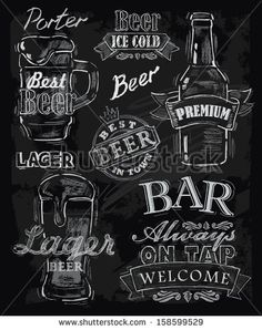 vector chalk beer on chalkboard background