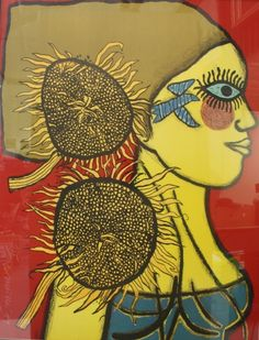 Corneille Woman with sunflowers. Tachisme, Abstract Faces, Abstract Art, Charcoal Sketch, Modern Impressionism, Art Brut, Dutch Painters, Dutch Artists, Naive Art