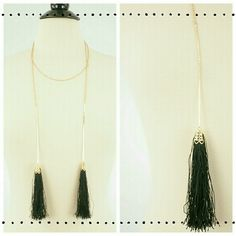 NWOT Double Tassel Chain Drops Necklace Elegant and on trend black double tassel necklace. 18 inches long. Lead & Nickel compliant. Boutique Jewelry Necklaces