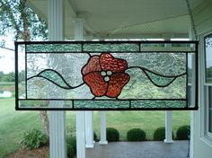 Floral Stained Glass Window Panel Transom