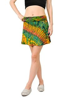 Orient Trail Women's Hippie Short Tie-dye Island Cruise Mini Skirt Reggae Green -- Check this awesome image @