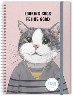 Undated Daily Planner by Molly & Rex: Each spiral bound planner contains 80 undated sheets, has an inner front pocket and elastic band closure Planner size: 7 x 10 Cat Lover Gifts, Cat Gifts, Cat Lovers, Spiral, Closure, Pocket, Band, Sash, Bands
