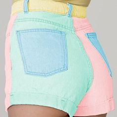 My tush in rainbow pastel denim this summer!