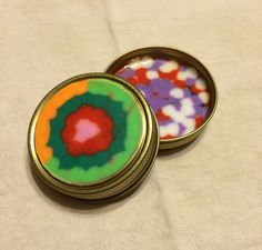 Fun and Funky Set of 2 Mason jar Lid Coasters OOAK dual sided - Recycled Melted Beads Boho drink coasters by BombPopBoutique on Etsy