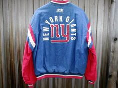 VTG 90s Mirage New York NY Giants NFL Jacket Mens Size L Blue Jersey Throwback  Vintage 2c0ae6511