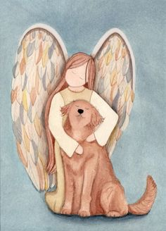 Angel and reddish tinged golden retriever / by watercolorqueen, $12.99