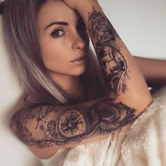 Arm tattoos for guys, beautiful tattoos for women, top tattoos, female arm slee Girls With Sleeve Tattoos, Best Sleeve Tattoos, Top Tattoos, Badass Tattoos, Body Art Tattoos, Small Tattoos, Girl Tattoos, Tattoo Art, Awesome Tattoos