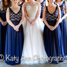 Beautiful Navy Formal Dress-bridesmaid, prom, etc. This dress is a beautiful floor-length formal that I wore once as a bridesmaid. The top is lace over beige-nude fabric and the bottom is a sheer chiffon fabric also over a layer of beige-nude fabric. The size is 20 but this dress runs SMALL. All the bridesmaids had to order up sizes. It's actually more true to a size 16. Gorgeous and perfect for many occasions!! Dresses Prom