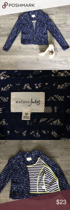 Maison Jules blazer jacket size medium Maison Jules blazer/ jacket, size medium. This beautiful blazer has navy blue lace over blue and cream stripes. It has two pockets, and cute frill detail on the bottom around the back. It's an open front jacket, there are no zippers or buttons. This jacket is in excellent condition, very gently used. Measurements are included in the pictures, but please let me know if you have any questions. All offers are considered! Maison Jules Jackets & Coats…