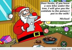 Threatened Santa by a bad kid - Funny Picture