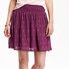 """Beautiful Plum Colored Skirt !!!   Beautiful color ! """" Plum and Get It """" ! 100% cotton ! Polyester lining ! Machine wash ! Smocked waistband ! Full flouncy """" Circle Skirt """" ! Crochet trim along hem ! Super pretty !  Old Navy Skirts"""