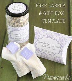 Lavender and oatmeal bath tea recipe with printable gift labels and teag-bag tags. Gorgeous (and easy!) homemade Christmas gift idea!